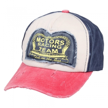 "Base CAP Vintage-Retro - blau, weiß pink ""MOTORS RACING TEAM"""