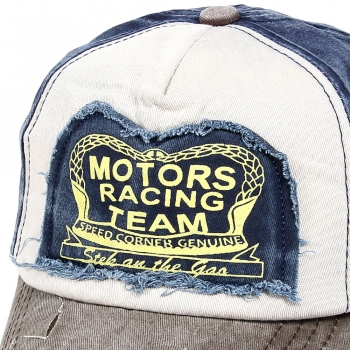 "Base CAP Vintage-Retro - grau, blau, weiß ""MOTORS RACING TEAM"""