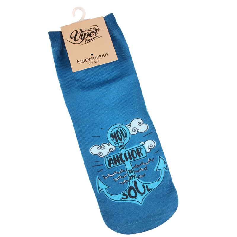 "MOTIV SOCKEN ANKER WELLEN WOLKEN MARITIM SPRUCH ""YOU ARE THE ANCHOR TO MY SOUL"""